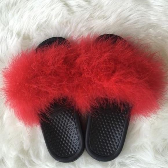 Nike Shoes   Red Nike Fur Slides   Poshmark